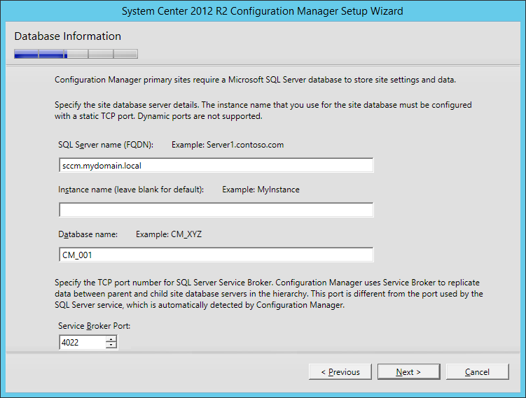 System Center 2012 R2 Configuration manager Setup - Database Information