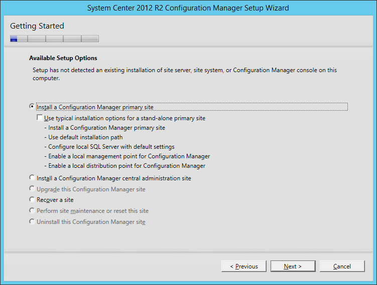 System Center 2012 R2 Configuration manager Setup - Getting Started - Install a Configuration Manager primary site