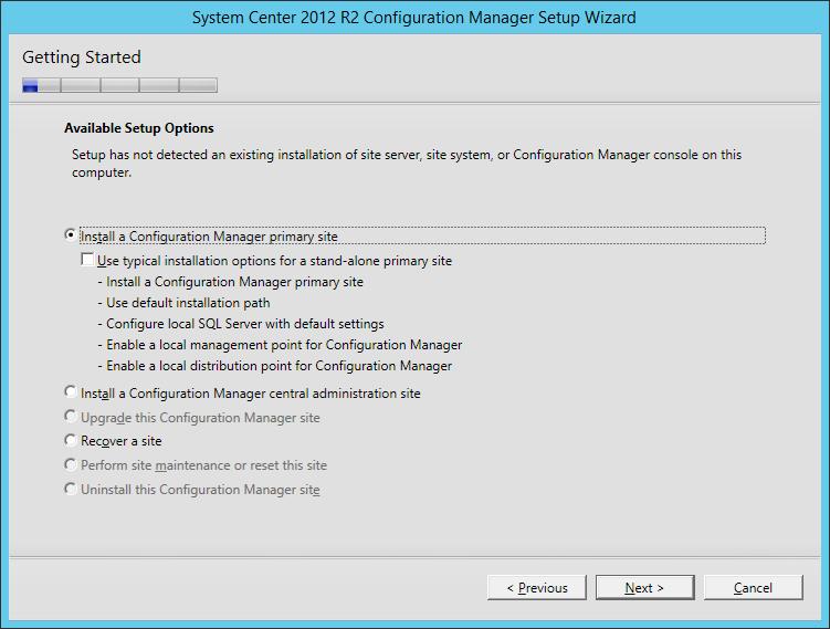 System Center 2012 R2 Configuration manager Setup - Getting Started - Install a Configuration Manager primary site