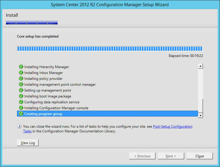 System Center 2012 R2 Configuration manager Setup - Install Completed