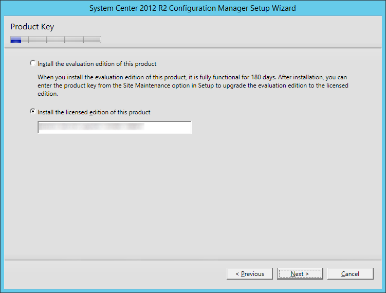 System Center 2012 R2 Configuration manager Setup - Install the licensed edition of this product