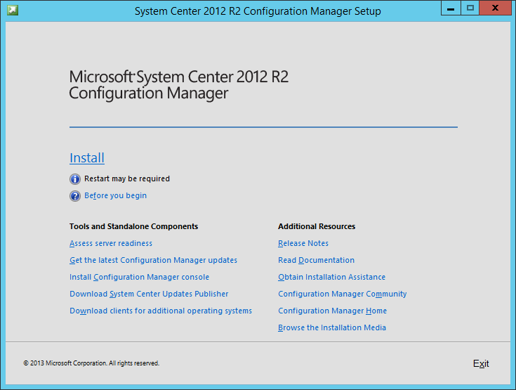 System Center 2012 R2 Configuration manager Setup - Install