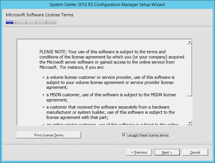 System Center 2012 R2 Configuration manager Setup - Microsoft Software License Terms