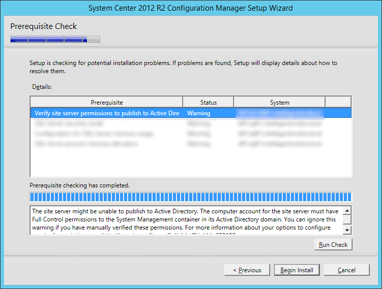 System Center 2012 R2 Configuration manager Setup - Prerequisite Check