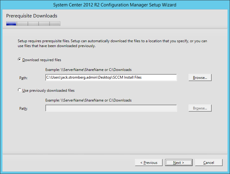 System Center 2012 R2 Configuration manager Setup - Prerequisite Downloads
