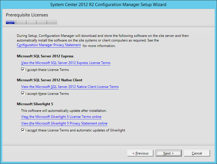 System Center 2012 R2 Configuration manager Setup - Prerequisite Licenses