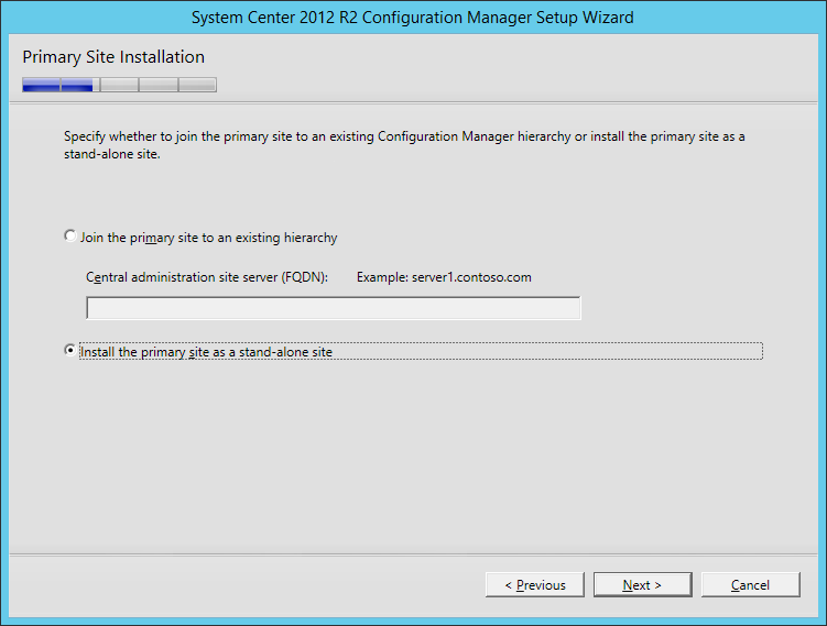 System Center 2012 R2 Configuration manager Setup - Primary Site Installation - Install the primary site as a stand-alone site