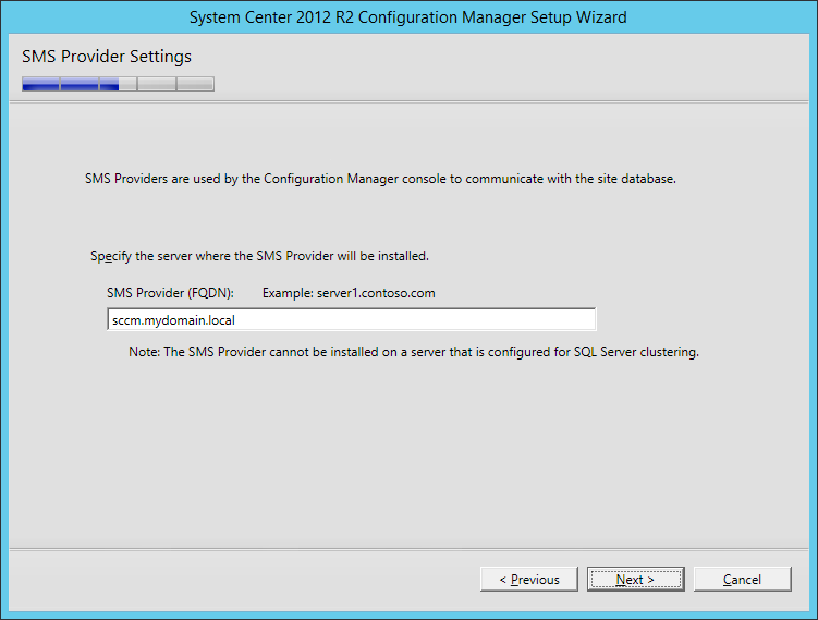 System Center 2012 R2 Configuration manager Setup - SMS Provider Settings
