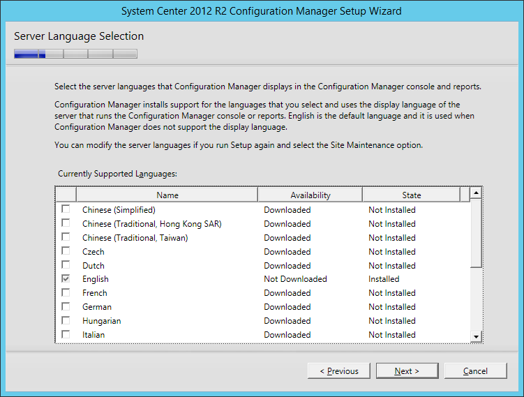 System Center 2012 R2 Configuration manager Setup - Server Language Selection
