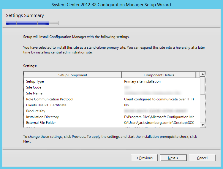 System Center 2012 R2 Configuration manager Setup - Settings Summary