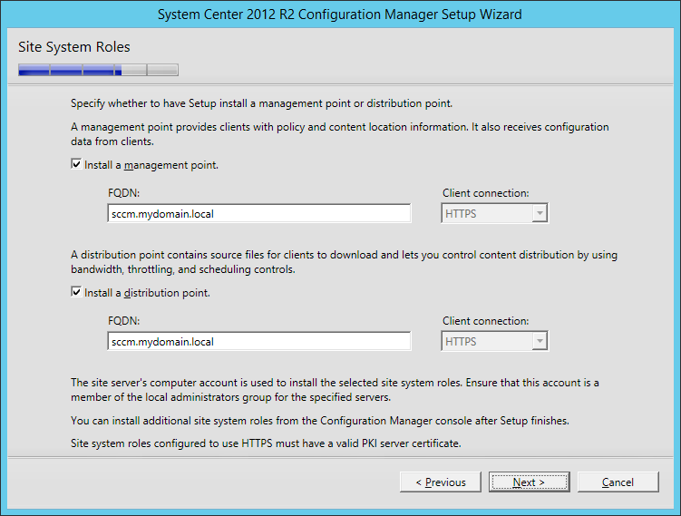 System Center 2012 R2 Configuration manager Setup - Site System Roles