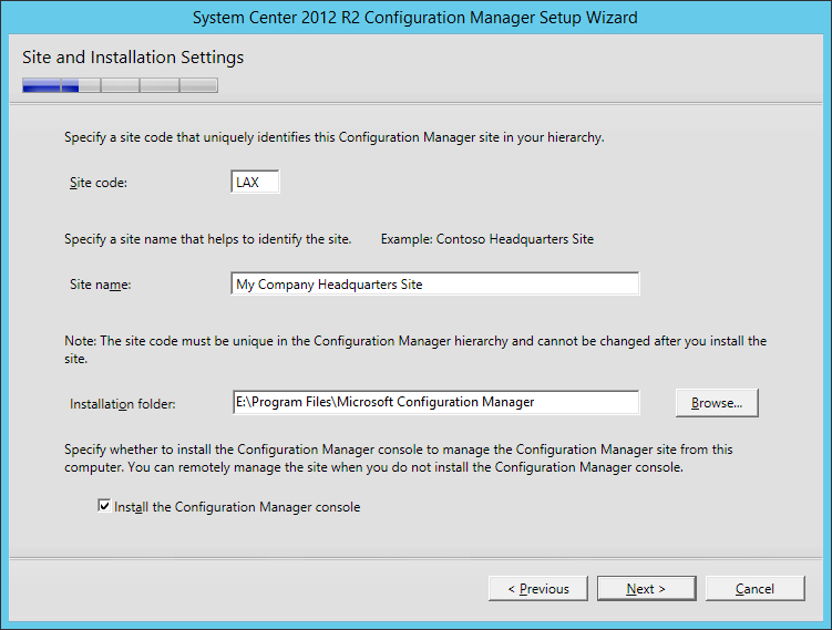System Center 2012 R2 Configuration manager Setup - Site and Installation Settings