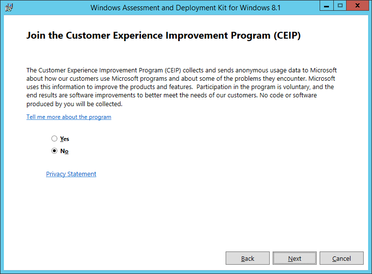 Windows Assessment and Deployment Kit for Windows 8_1 - Join the Customer Experience Improvement Program (CEIP)
