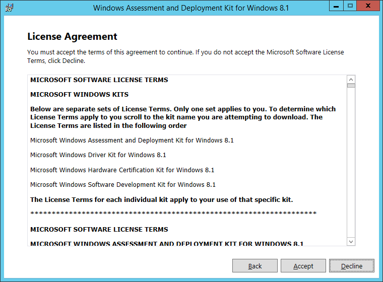 Windows Assessment and Deployment Kit for Windows 8_1 - License Agreement