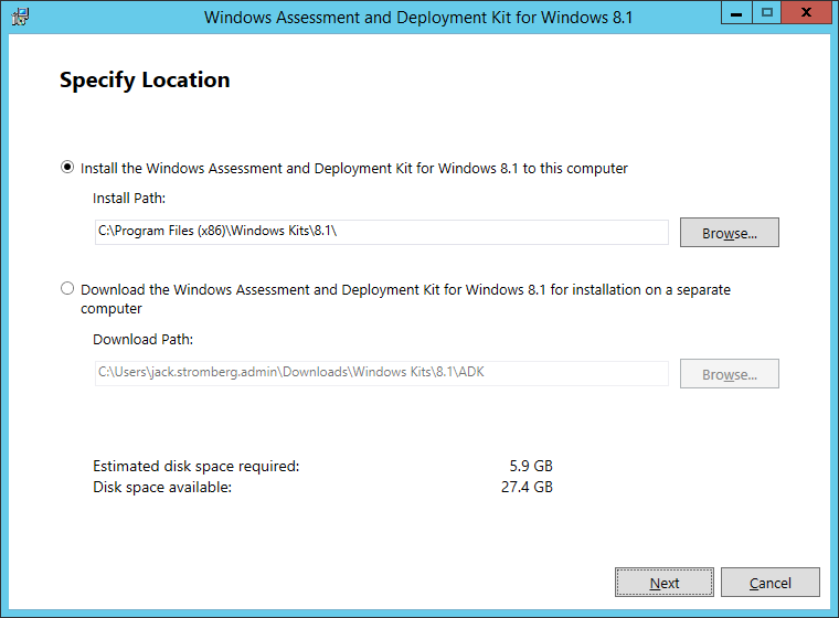 Windows Assessment and Deployment Kit for Windows 8_1 - Specify Location