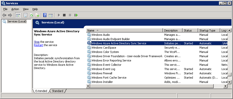Windows Azure Active Directory Sync Service - Restart