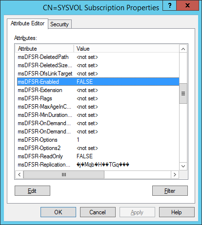 ADSI Edit - Default Naming Context - Domain Controllers - DC01 - DFSR-LocalSettings - Domain System Volume - msDFSR-Options - msDFSR-Enabled