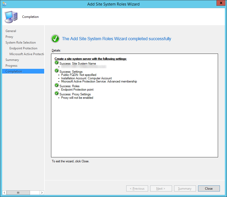 System Center 2012 R2 Configuration Manager - Add Site System Roles Wizard - Completion