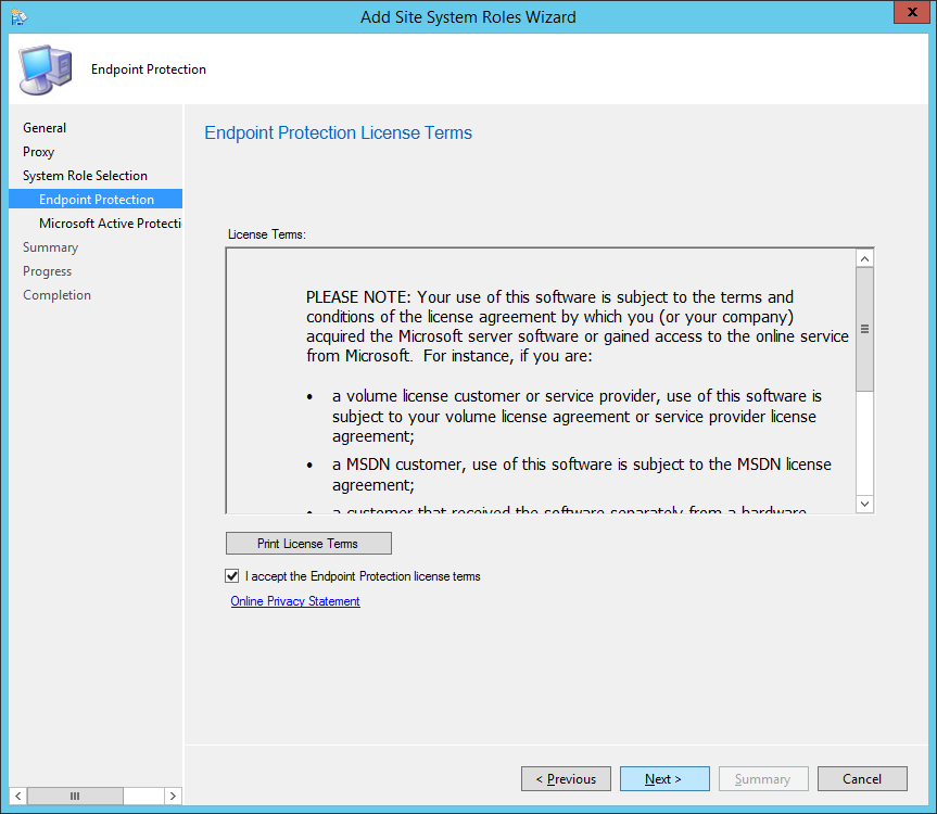 System Center 2012 R2 Configuration Manager - Add Site System Roles Wizard - System Role Selection - Endpoint Protection - Accept EULA