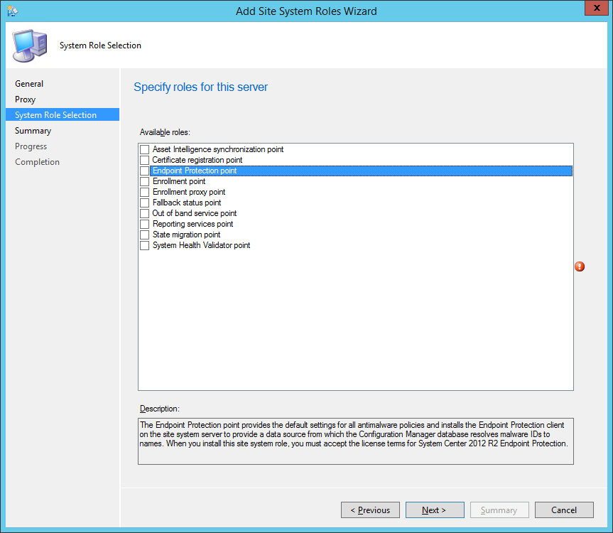 System Center 2012 R2 Configuration Manager - Add Site System Roles Wizard - System Role Selection - Endpoint Protection point