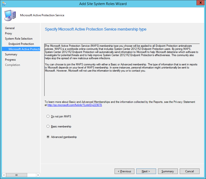 System Center 2012 R2 Configuration Manager - Add Site System Roles Wizard - System Role Selection - Microsoft Active Protection Service