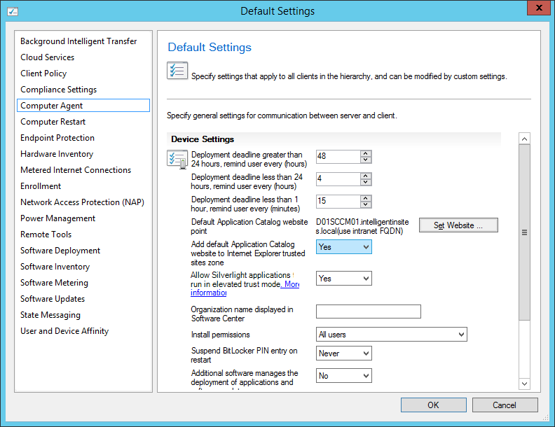 System Center 2012 R2 Configuration Manager - Administration - Client Settings - Default Settings - Computer Agent - IE Trusted sites