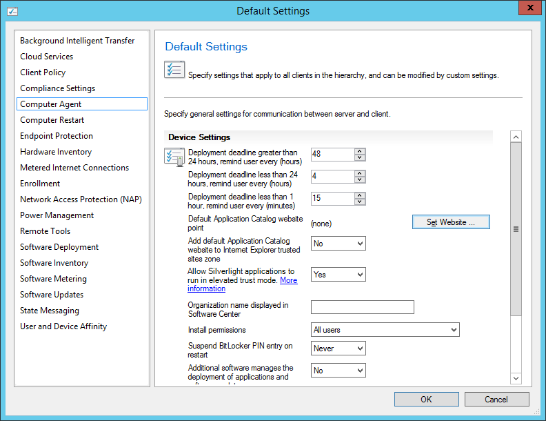 System Center 2012 R2 Configuration Manager - Administration - Client Settings - Default Settings - Computer Agent