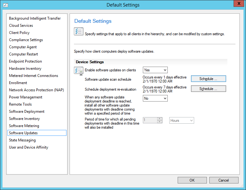 System Center 2012 R2 Configuration Manager - Administration - Client Settings - Default Settings - Software Updates - Daily