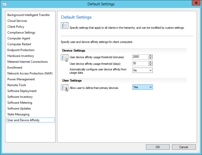 System Center 2012 R2 Configuration Manager - Administration - Client Settings - Default Settings - User and Device Affinity - Yes