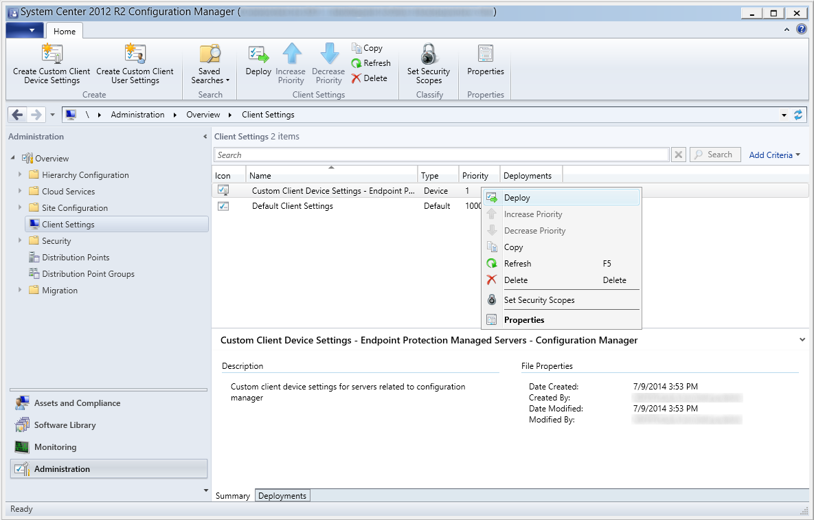 System Center 2012 R2 Configuration Manager - Administration - Client Settings - Deploy Custom Client Device Settings
