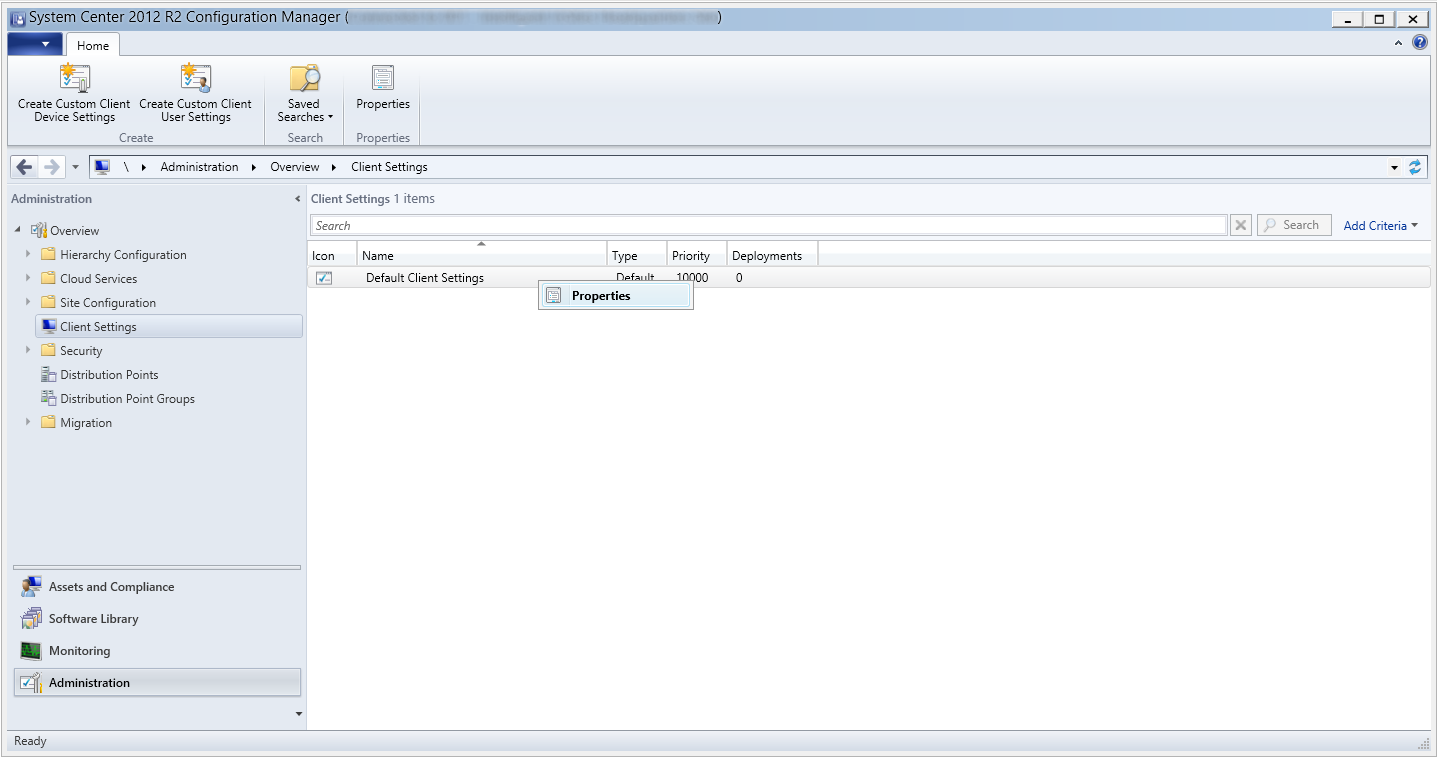System Center 2012 R2 Configuration Manager - Administration - Client Settings