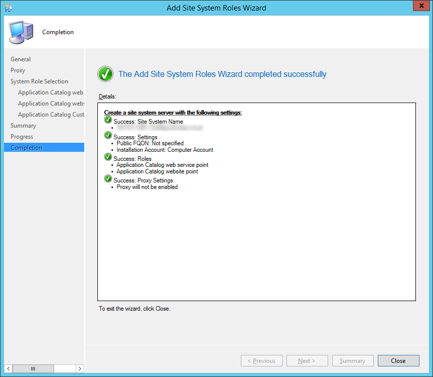 System Center 2012 R2 Configuration Manager - Administration - Site Configuration - Sites - Add Site System Roles Wizard - Completion