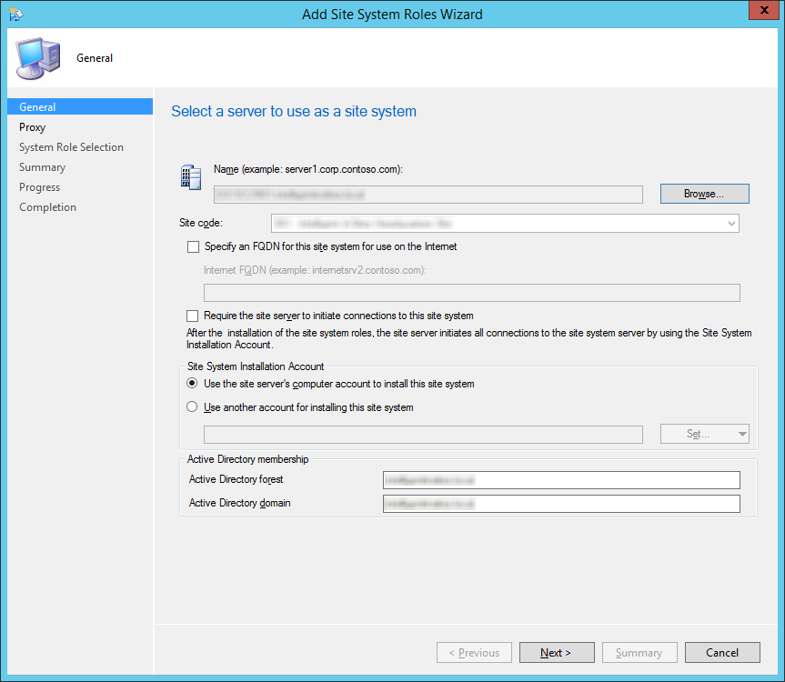 System Center 2012 R2 Configuration Manager - Administration - Site Configuration - Sites - Add Site System Roles Wizard - General