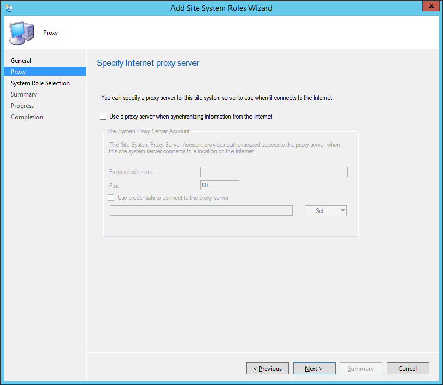 System Center 2012 R2 Configuration Manager - Administration - Site Configuration - Sites - Add Site System Roles Wizard - Proxy