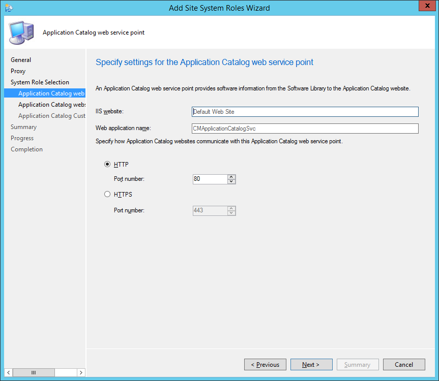 System Center 2012 R2 Configuration Manager - Administration - Site Configuration - Sites - Add Site System Roles Wizard - System Role Selection - ACWSP - HTTP