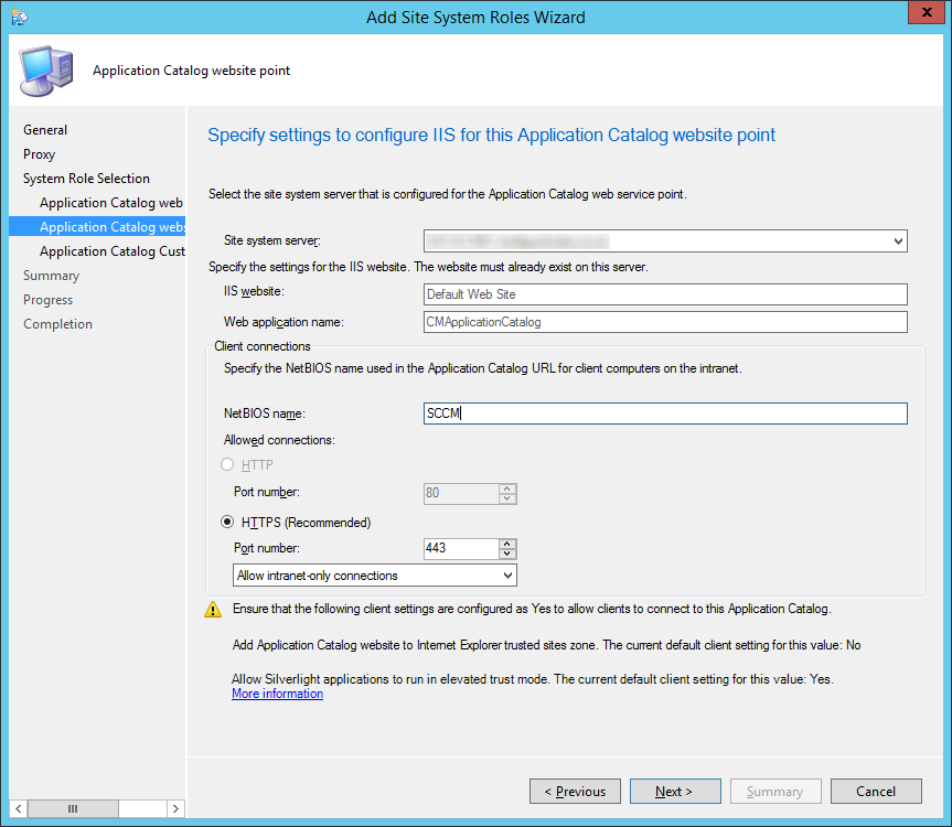 System Center 2012 R2 Configuration Manager - Administration - Site Configuration - Sites - Add Site System Roles Wizard - System Role Selection - ACWSP IIS