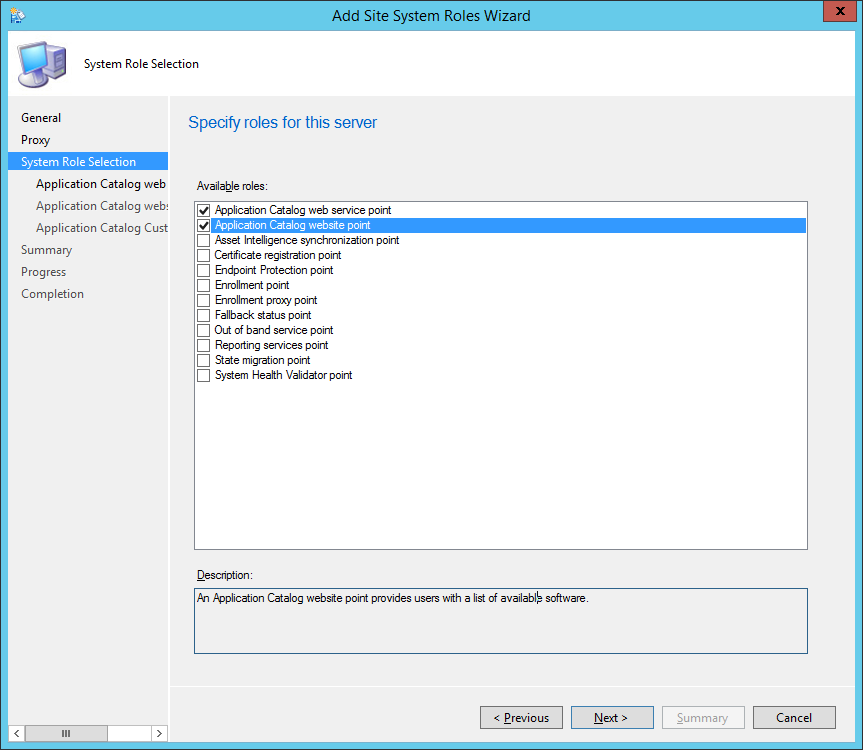 System Center 2012 R2 Configuration Manager - Administration - Site Configuration - Sites - Add Site System Roles Wizard - System Role Selection - ACWSP