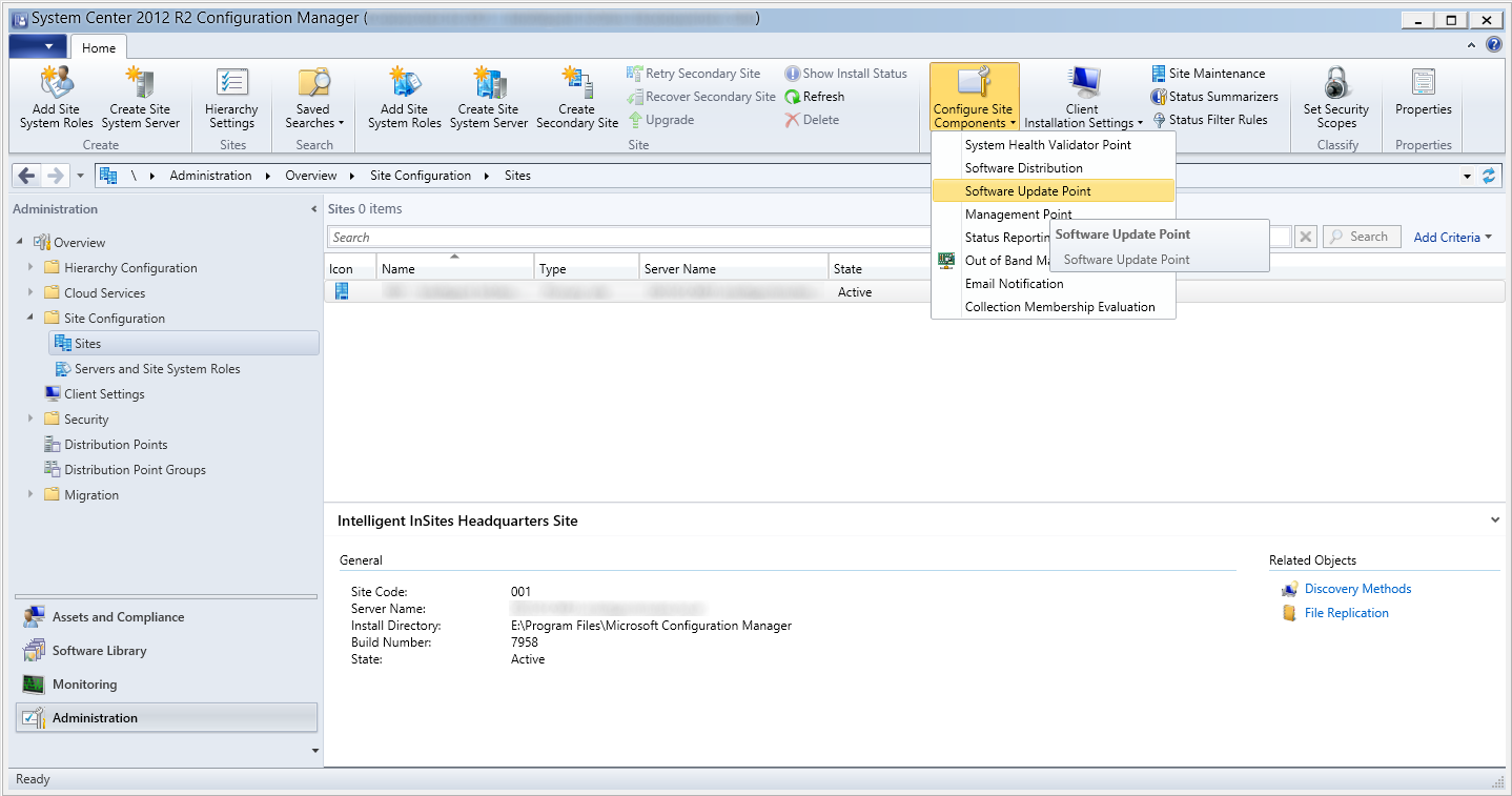 System Center 2012 R2 Configuration Manager - Administration - Site Configuration - Sites - Configure Site Components - SUP