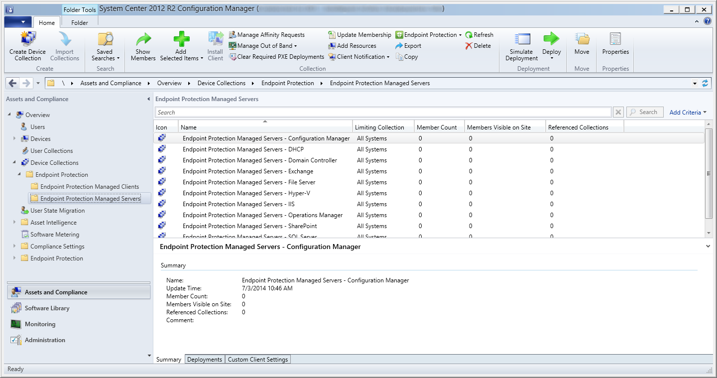 System Center 2012 R2 Configuration Manager - Assets and Compliance - Assets and Compliance - Endpoint Protection Managed Servers