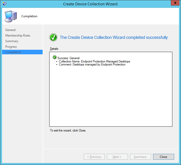 System Center 2012 R2 Configuration Manager - Assets and Compliance - Create Device Collection - Completion