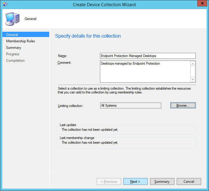 System Center 2012 R2 Configuration Manager - Assets and Compliance - Create Device Collection - Managed Desktops - All Systems