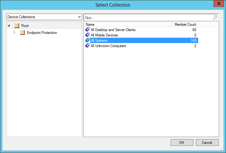 System Center 2012 R2 Configuration Manager - Assets and Compliance - Create Device Collection - Managed Desktops - Select Collection