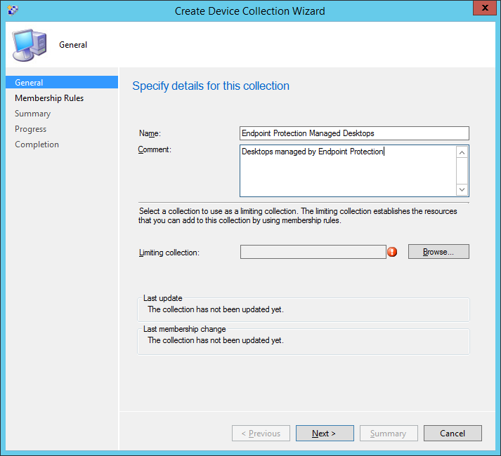 System Center 2012 R2 Configuration Manager - Assets and Compliance - Create Device Collection - Managed Desktops