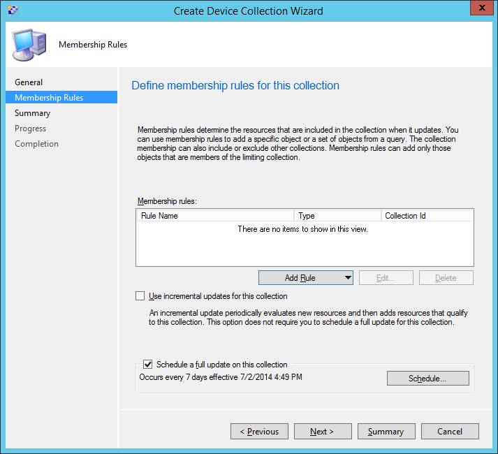 System Center 2012 R2 Configuration Manager - Assets and Compliance - Create Device Collection - Membership Rules