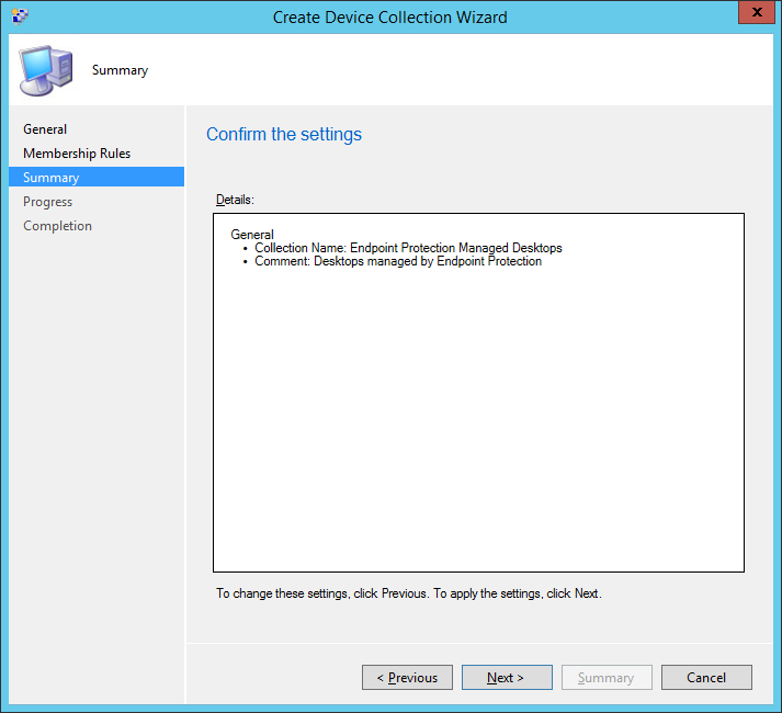 System Center 2012 R2 Configuration Manager - Assets and Compliance - Create Device Collection - Summary