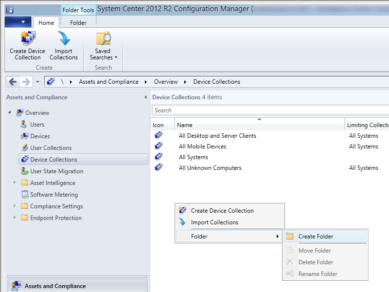 System Center 2012 R2 Configuration Manager - Assets and Compliance - Device Collections - New Folder