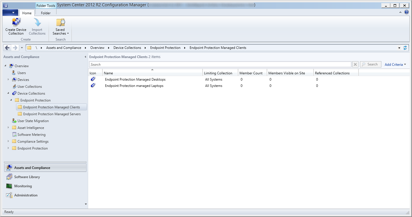 System Center 2012 R2 Configuration Manager - Assets and Compliance - Endpoint Protection Managed Clients - Desktops and Laptops