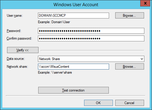 System Center 2012 R2 Configuration Manager - Client Installation Settings - Client Push Installation Properties - Accounts - New Account - Windows User Account