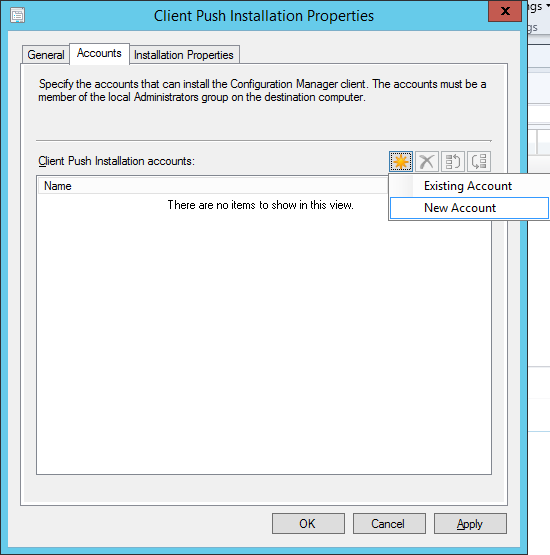 System Center 2012 R2 Configuration Manager - Client Installation Settings - Client Push Installation Properties - Accounts - New Account