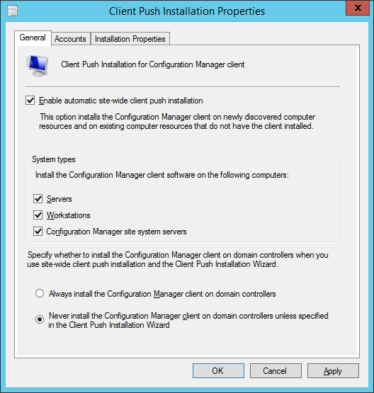 System Center 2012 R2 Configuration Manager - Client Installation Settings - Client Push Installation Properties